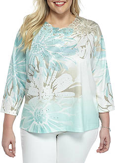 Alfred Dunner Plus Size Ladies Who Lunch Floral Knit Top