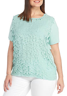 Alfred Dunner Plus Ladies Who Lunch Flutter Shell Knit Top
