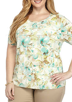 Alfred Dunner Plus Ladies Who Lunch Accordion Floral Shirt