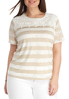 Alfred Dunner Plus Ladies Who Lunch Lace Yoke Burnout Tee