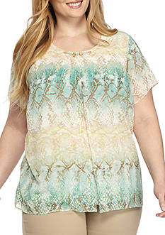 Alfred Dunner Plus Ladies Who Lunch Chiffon Python Top