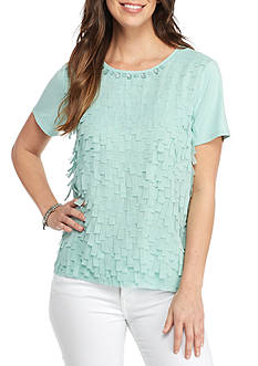 Alfred Dunner Petite Ladies Who Lunch Flutter Shell Knit Top