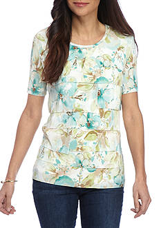 Alfred Dunner Petite Ladies Who Lunch Accordion Floral Top