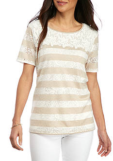 Alfred Dunner Petite Ladies Who Lunch Lace Yoke Burnout Tee