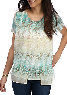 Alfred Dunner Petite Ladies Who Lunch Chiffon Python Knit Top