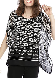 Alfred Dunner Ethnic Beat Border Print Woven Top