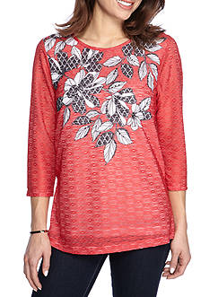 Alfred Dunner Ethnic Beat Leaf Print Tee