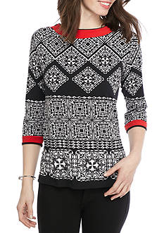 Alfred Dunner Ethnic Beat Tile Tunic Knit