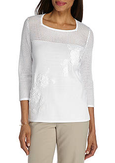 Alfred Dunner Ethnic Beat Floral Applique Sweater