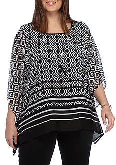 Alfred Dunner Plus Ethnic Beat Border Print Woven