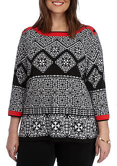 Alfred Dunner Plus Ethnic Beat Tile Tunic Knit