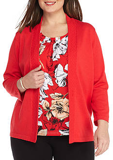 Alfred Dunner Plus Ethnic Beat Floral 2fer Sweater