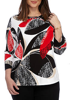 Alfred Dunner Plus Ethnic Beat Textured Floral Sweater
