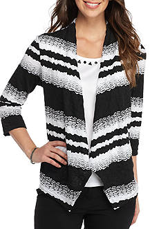Alfred Dunner Petite Ethnic Beat Textured Striped 2fer