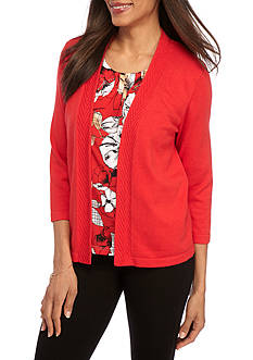 Alfred Dunner Petite Ethnic Beat Floral 2fer Sweater