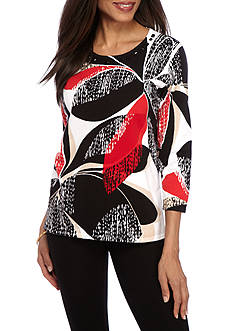 Alfred Dunner Petite Ethnic Beat Textured Floral Sweater