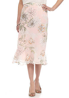 Alfred Dunner Stencil Floral Skirt