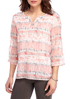 Alfred Dunner Rose Hill Watercolor Woven Top