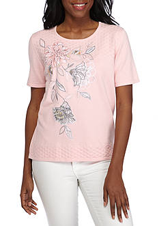 Alfred Dunner Rose Hill Floral Applique Sweater