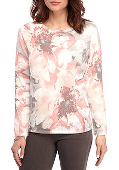 Alfred Dunner Rose Hill Exploded Floral Sweater