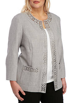 Alfred Dunner Plus-Size Rose Hill Laser Cut Jacket