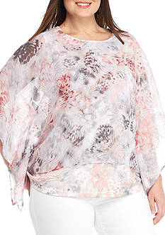 Alfred Dunner Plus-Size Rose Hill Butterfly Print Chiffon Top