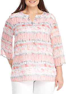 Alfred Dunner Plus-Size Rose Hill Woven Top