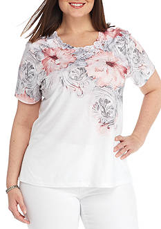 Alfred Dunner Plus-Size Rose Hill Scroll Floral Knit Top