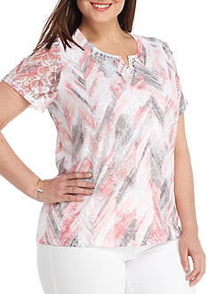 Alfred Dunner Plus-Size Rose Hill Abstract Floral Top