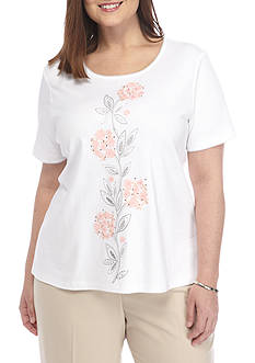 Alfred Dunner Plus Rose Hill Floral Top