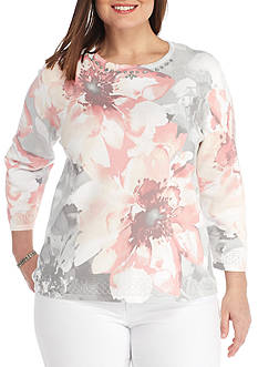 Alfred Dunner Plus-Size Rose Hill Exploded Floral Sweater