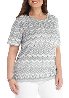 Alfred Dunner Plus-Size Rose Hill Monotone Zig Zag Sweater