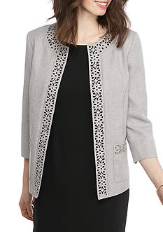 Alfred Dunner Petite Rose Hill Laser Cut Jacket