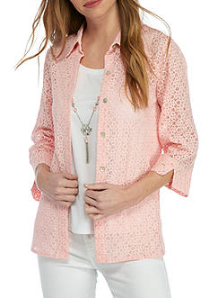 Alfred Dunner Petite Rose Hill Lace Top