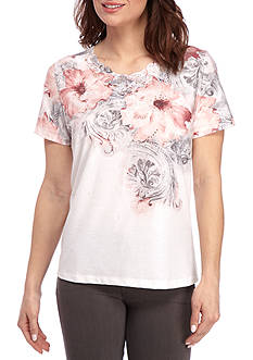 Alfred Dunner Petite Rose Hill Scroll Floral Knit Top