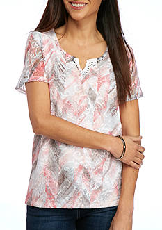 Alfred Dunner Petite Rose Hill Abstract Floral Top
