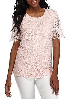 Alfred Dunner Petite Rose Hill Lace Front Sweater