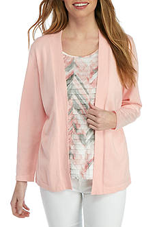 Alfred Dunner Petite Rose Hill Brushstroke Knit Top
