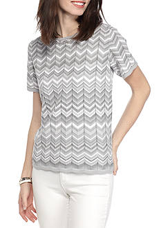 Alfred Dunner Petite Rose Hill Zig Zag Monotone Top