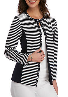 Alfred Dunner Seas the Day Striped Ottoman Jacket