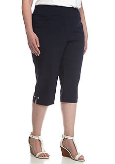 Alfred Dunner Plus Seas the Day Solid Capri