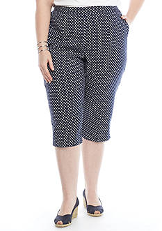 Alfred Dunner Plus-Size Seas the Day Dot Print Capris