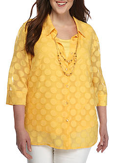 Alfred Dunner Plus Seas the Day Dot Button Front Woven