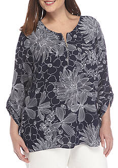 Alfred Dunner Plus Seize the Day Floral Tunic