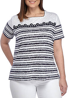 Alfred Dunner Plus-Size Seas the Day Daisy Stripe Burnout Top