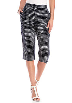 Alfred Dunner Petite Seas the Day Dot Print Capri