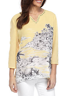 Alfred Dunner Petite Seas the Day Scenic Tunic