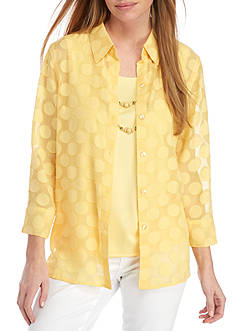 Alfred Dunner Petite Seas the Day Dot Woven Shirt