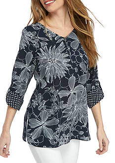 Alfred Dunner Petite Seize the Day Floral Tunic