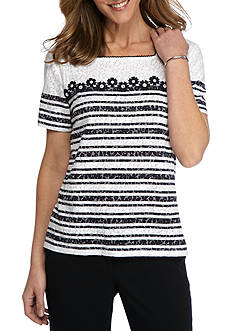 Alfred Dunner Petite Seas The Day Daisy Stripe Burnout Top
